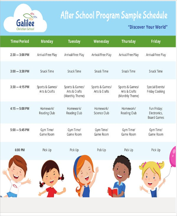 After-School Schedule Templates - 9+ Free Samples, Examples Format