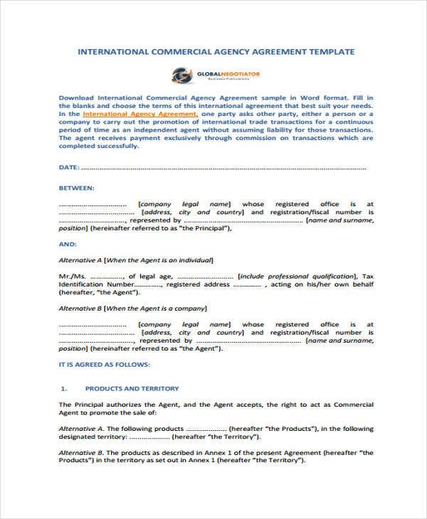 Commercial agreement templates 10 free word pdf format download commercial agency agreement platinumwayz