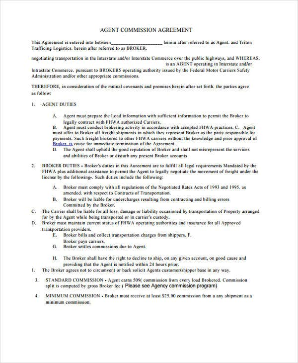 Agent Contract Templates 8 Free Word Pdf Format Download Free