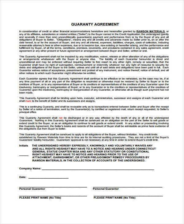 Guaranty Agreement Templates 9 Free Word Pdf Format Download