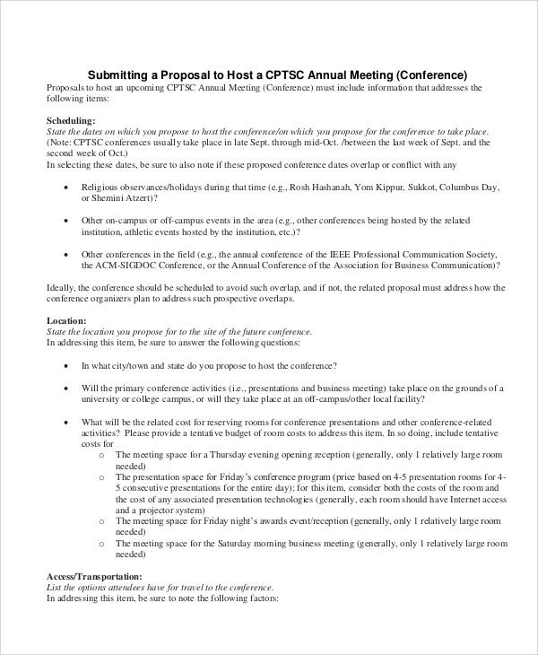 Conference Proposal Templates -7+ Free Word, PDF Format Download ...