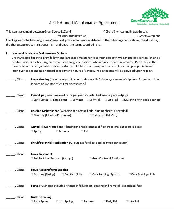 Maintenance Agreement Templates 11 Free Word Pdf