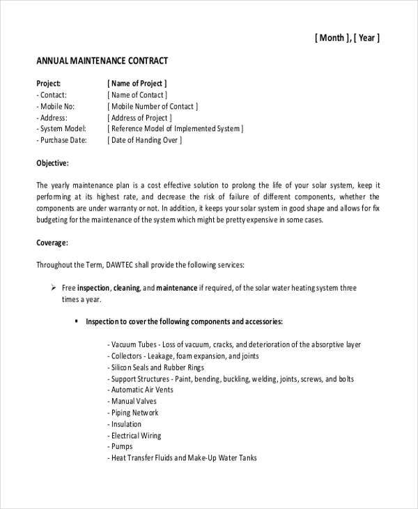 Maintenance Contract Templates  Free Sample Example Format