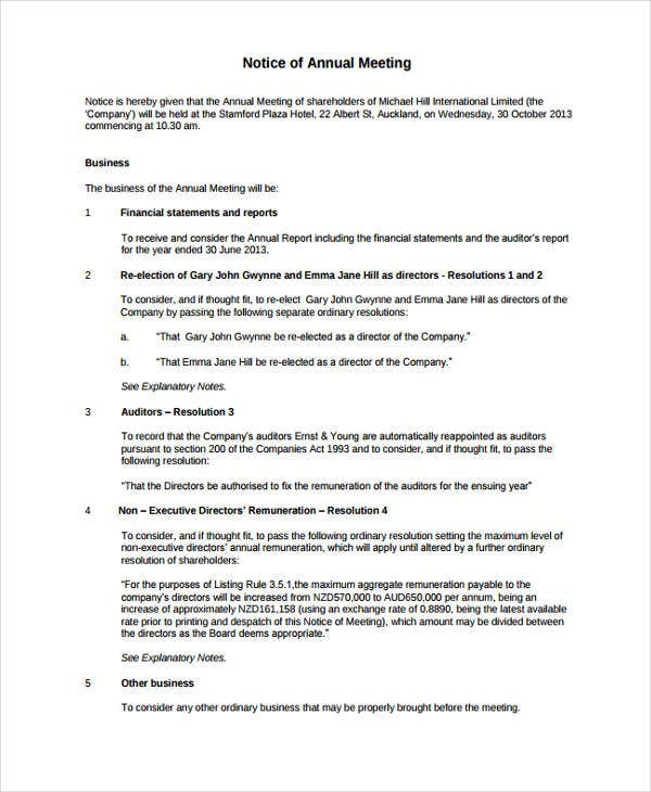 Meeting notice templates 10 free samples examples for Notice of board meeting template