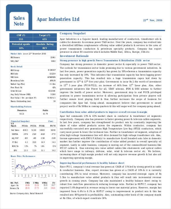Apar Industries Ltd Sales Note
