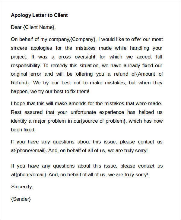Apology Letter Format to Client