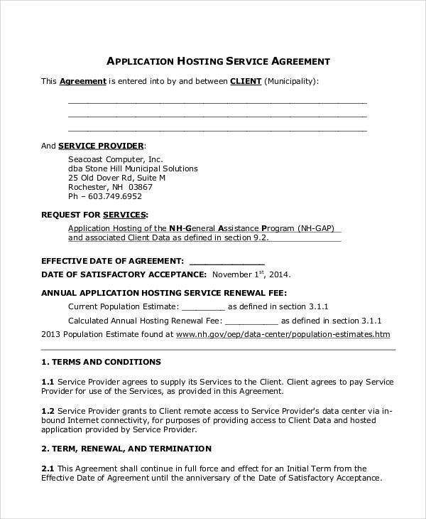 application agreement