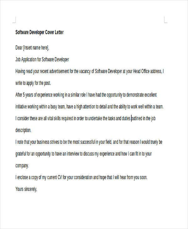 7+ Software Developer Cover Letters | Free & Premium Templates