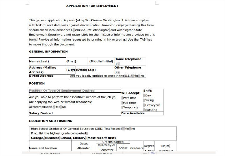 application for employment word format