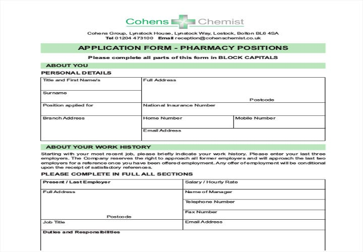 application form pharmacy positions
