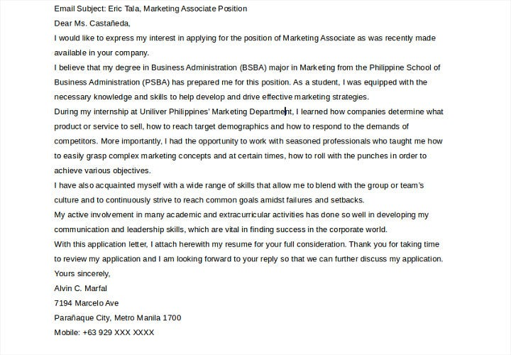 application letter for marketing associate
