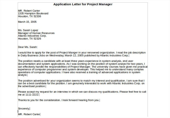 application letter for project manager
