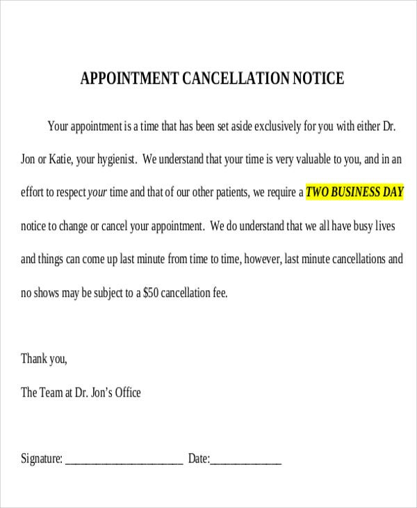 Cancellation notice templates 10 free word pdf format Cancelling a wedding at the last minute