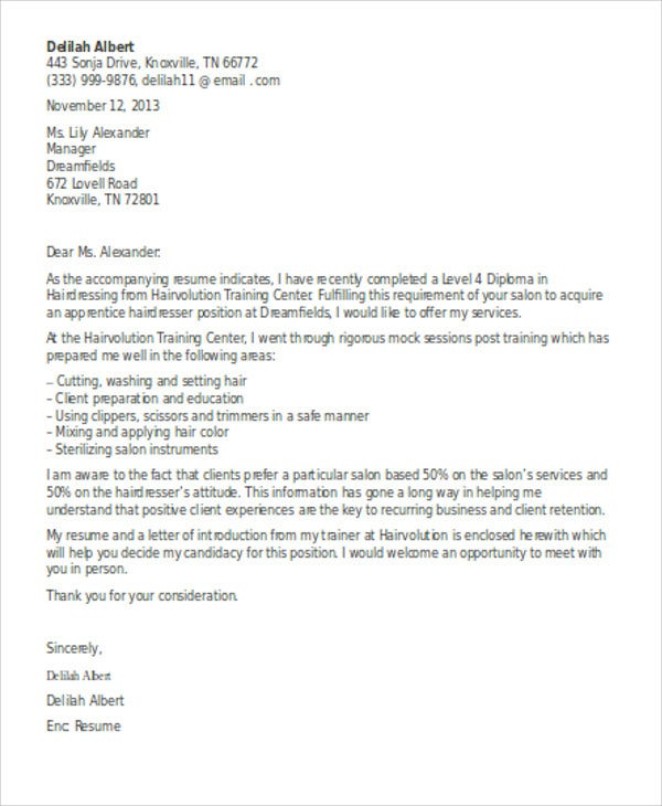 15  Hair Stylist Cover Letter Templates -Sample ,Example | Free ...