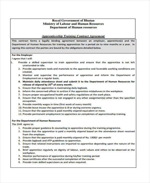 Training contract templates 9 free word pdf format for Apprenticeship contract template