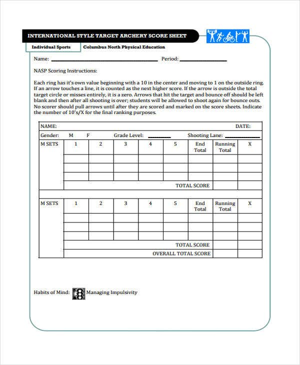 9 score sheet templates free samples examples format