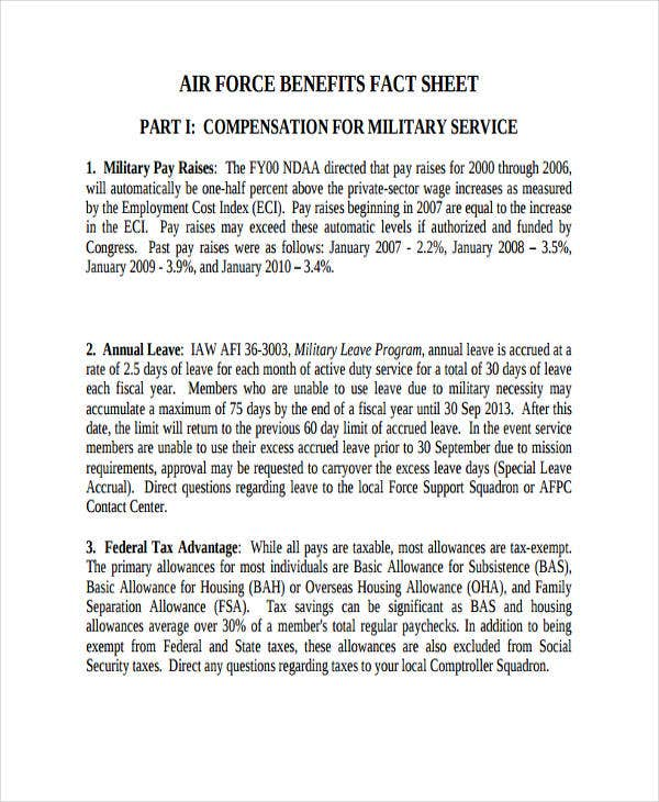 army benefits fact sheet