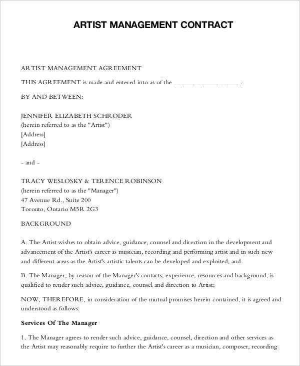Artist Contract Templates  Free Sample Example Format
