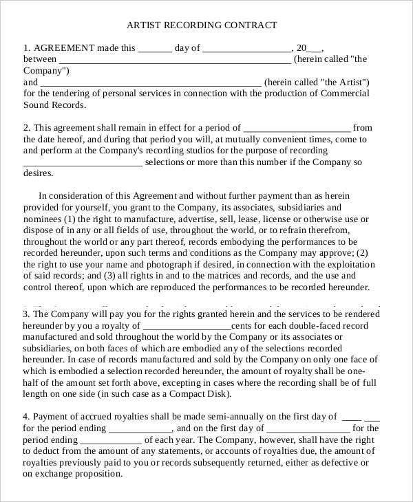12 artist contract templates free sample example for Professional organizer contract template