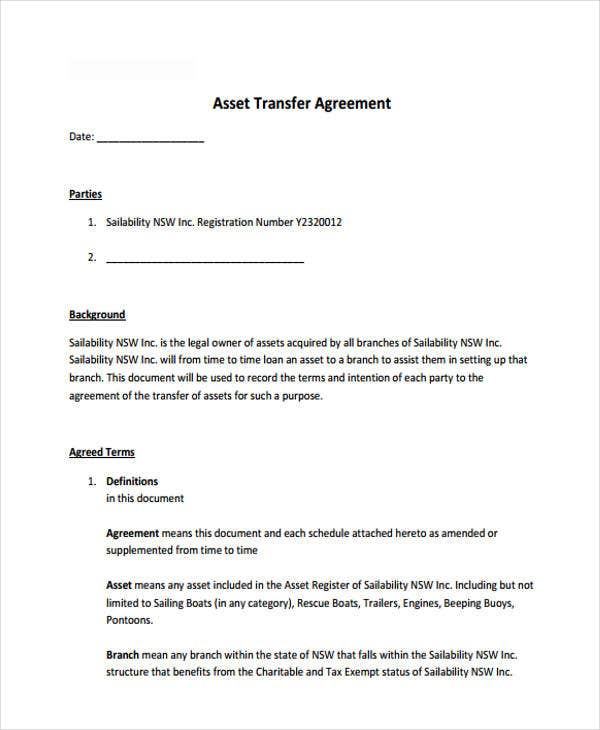 9 Transfer Agreement Templates Free Sample Example Format