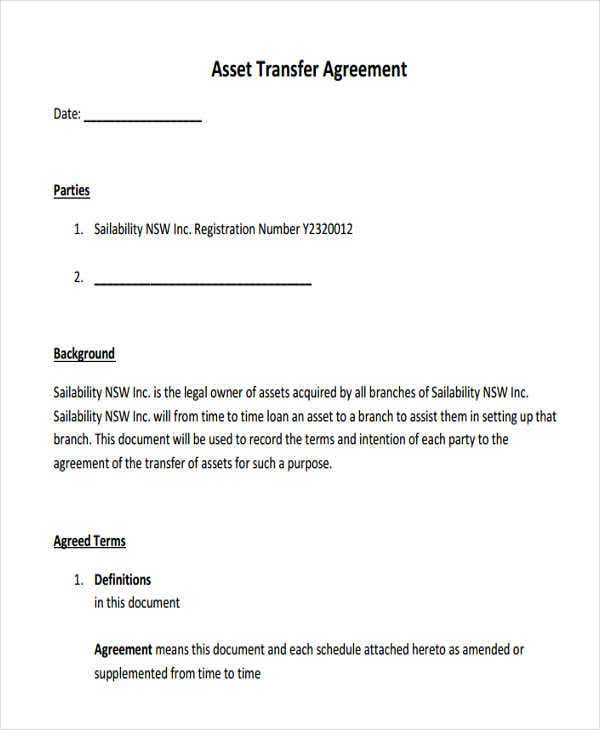 Asset Agreement Templates   Free Word Pdf Format Download  Free
