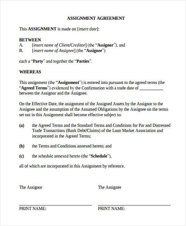 Assignment Agreement Templates 9 Free Samples Examples