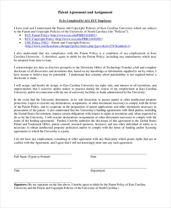 Patent Agreement Templates - 12 Free Word, Pdf Format Download