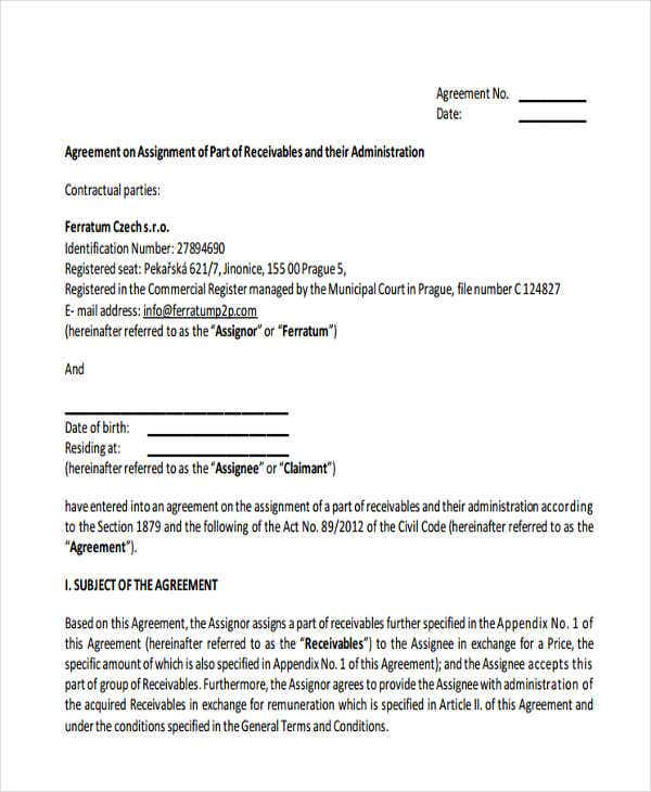 Assignment Agreement Templates - 9 Free Samples, Examples, Format