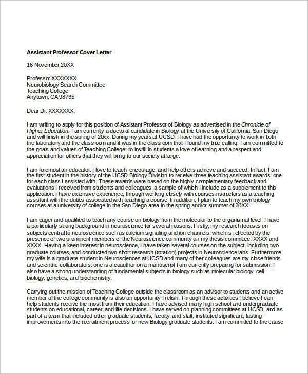 Cover letter college professor position