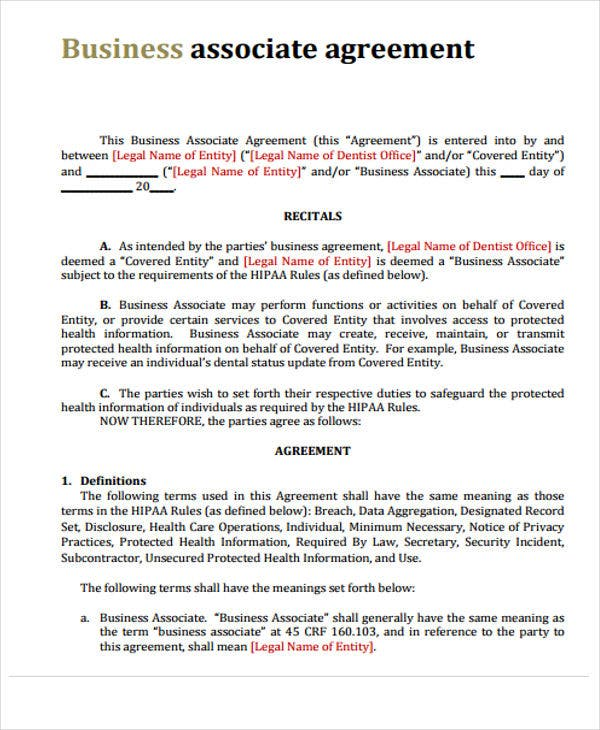 Business agreement templates 10 free word pdf format download associate agreement wajeb Gallery