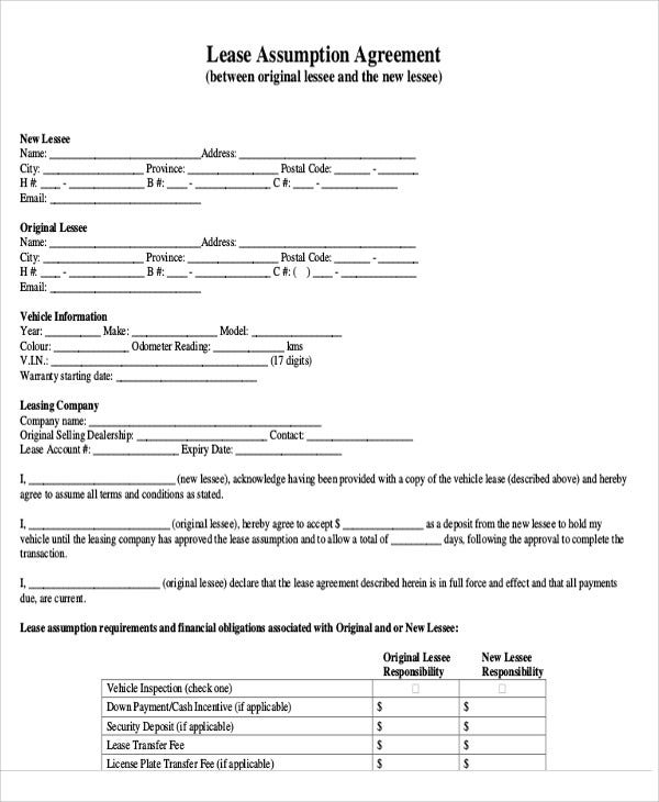 Assumption Agreement Templates 9 Free Word PDF Format