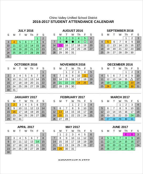 Attendance Calendar Templates Office Employee Attendance Calendar