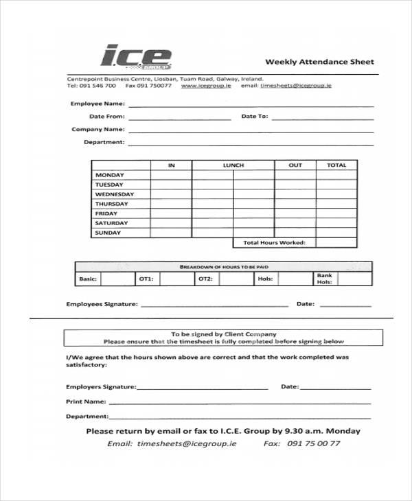 attendance sheet1
