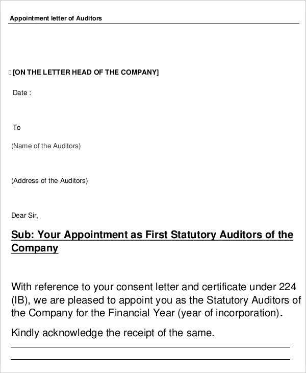 Auditor Appointment
