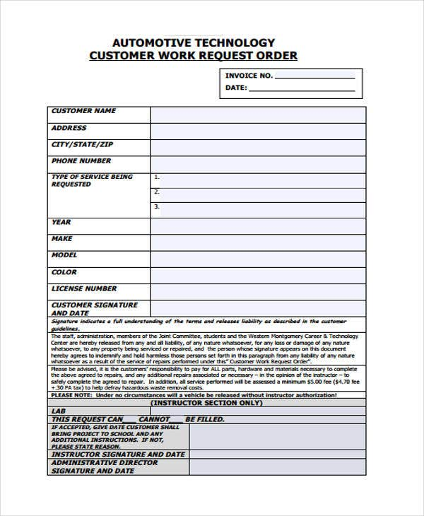 automotive work request order in pdf