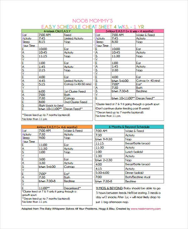 baby schedule chart