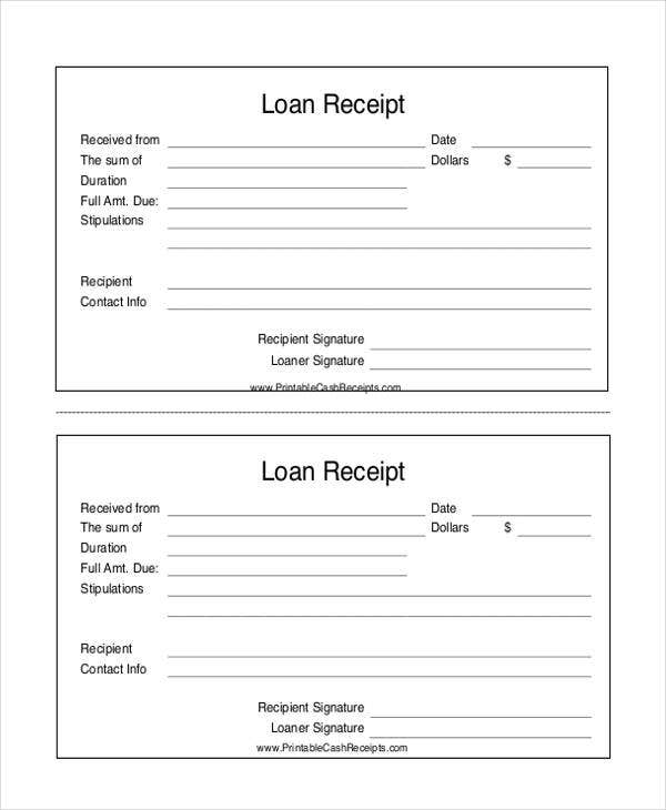 Loan Receipt Templates  Free Sample Example Format Download