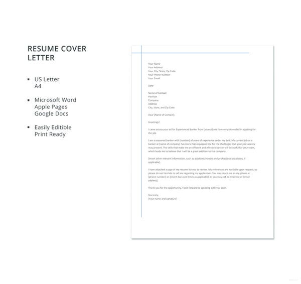 banking resume cover letter template for experienced