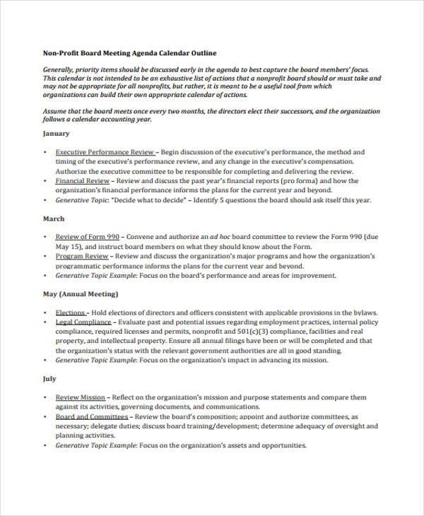 basic agenda outline