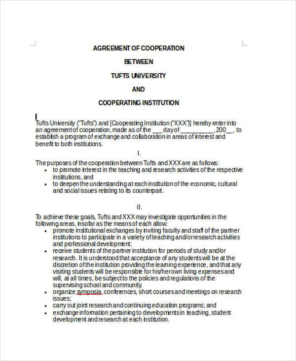 10 Cooperation Agreement Templates Word Pdf Format Download