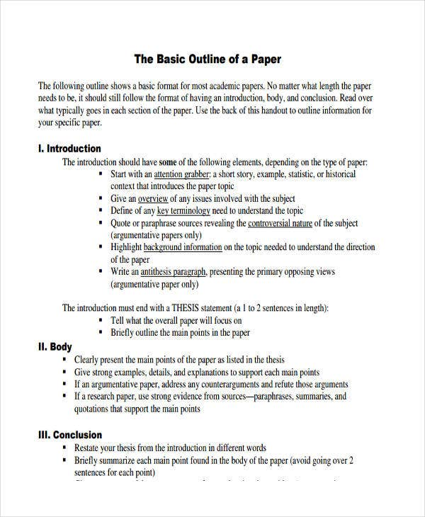 10 paper outline templates free sample example format download