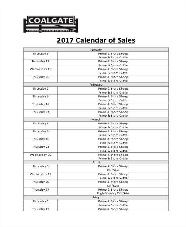 basic sales calendar