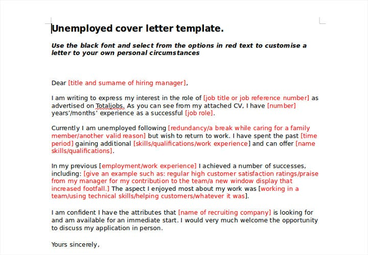 basic unemployed cover letter
