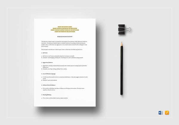 behaviour incident report template