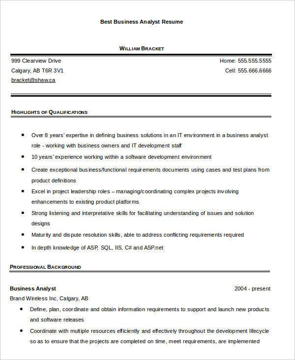 best business analyst resume
