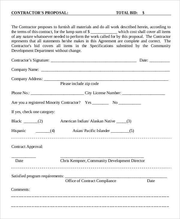 Contractor Proposal Templates  Free Sample Example Format