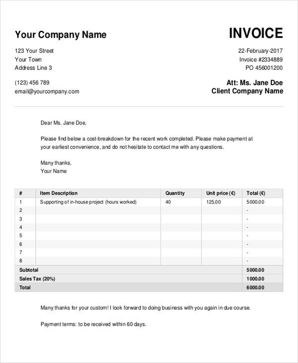 Cash Invoice Templates - 10 Free Word, Pdf Format Download | Free