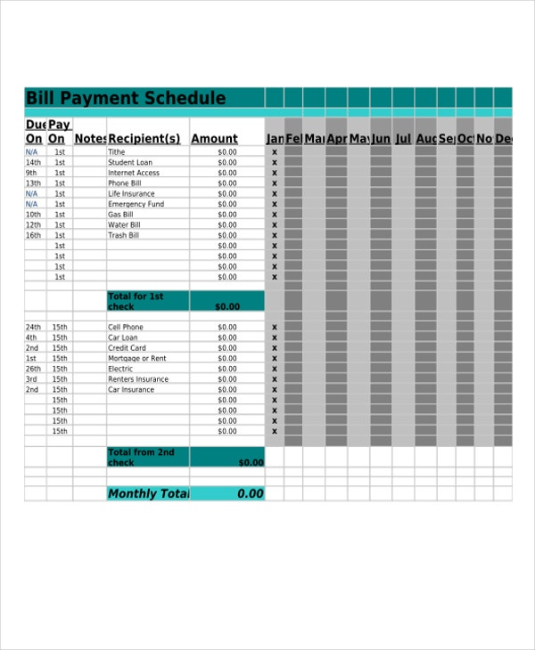 bill payment in pdf