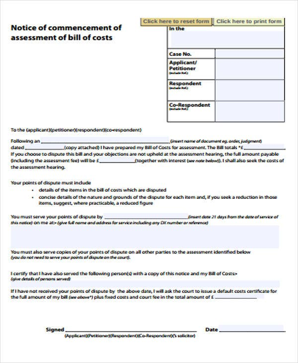 Notice Of Assessment Templates 6 Free Word Pdf Format Download