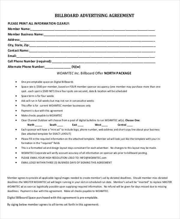 Advertising Contract Templates   Free Word Pdf Format Download